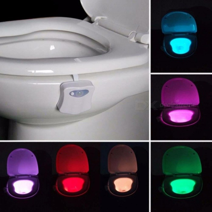 Smart Bathroom Toilet Nightlight 8 Color LED Body Motion Activated On/Off Seat Sensor Lamp PIR Toilet Night Light Lamp White