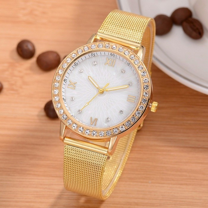2018 New Fashion Classy Women Ladies Crystal Rhinestones Roman Numerals Gold Mesh Alloy Band Quartz Wrist Watch