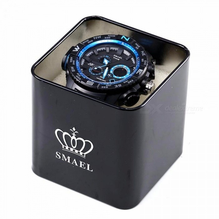 Buy SMAEL Brand Original Watch Box Sport Men Watch Metal Box Male Clock LED Digital Watch Box Protection Metal Box Black with Litecoins with Free Shipping on Gipsybee.com