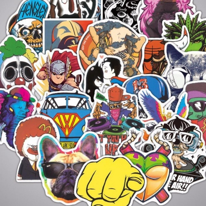 100 Pcs Different Personalized Graffiti Stickers For Motorcycle And Car- Colorful Black (Random Style)
