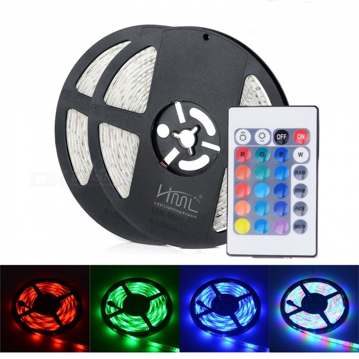 2pcs HML 5m 24W 300 SMD 2835 RGB LED Strip Light with 24 Keys Remote Controller