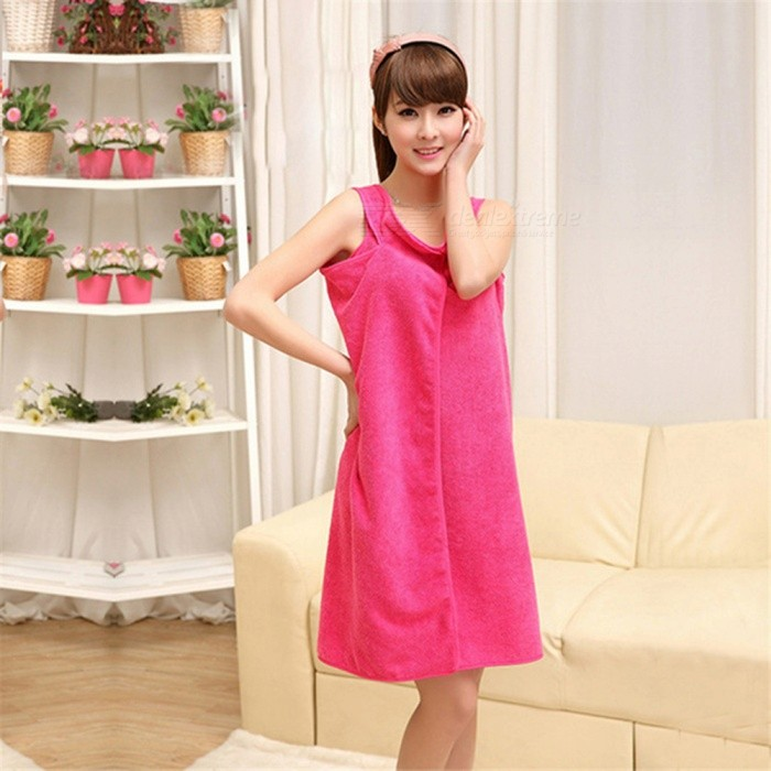 Sexy Multifunction Cloth Fabric Wearable Slip Bath Towel Dress Skirt - Deep Pink