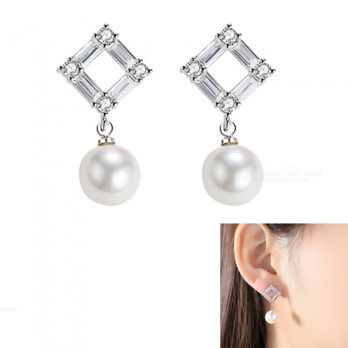 Buy XSUNI Pearl S925 Silver Needle Temperament Simple Rhomboid Earrings - Silver (1 Pair) with Litecoins with Free Shipping on Gipsybee.com