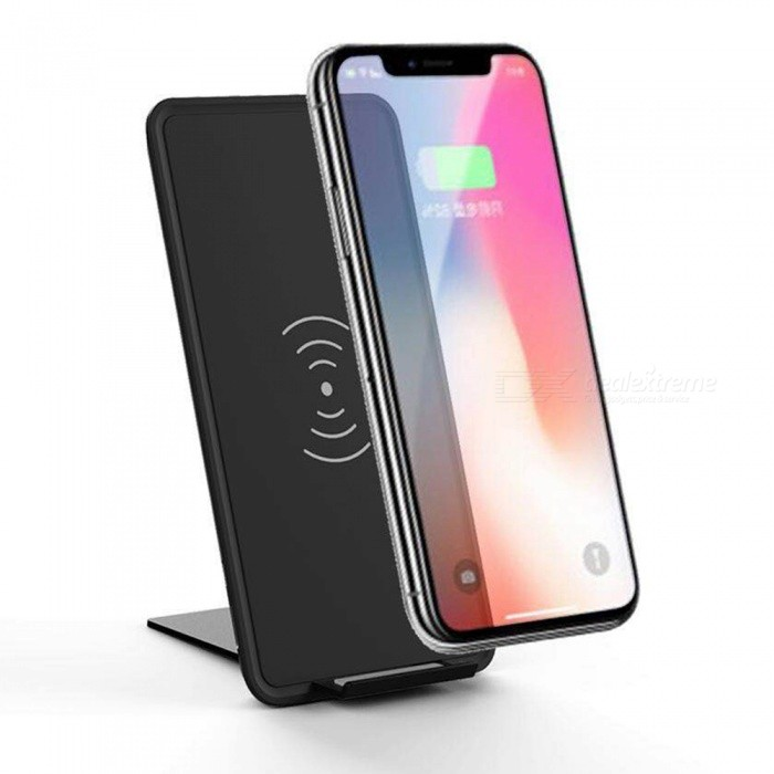 Buy 10W Qi Wireless Charger Pad Ultra-thin Fast Charge with Stand - Black with Litecoins with Free Shipping on Gipsybee.com