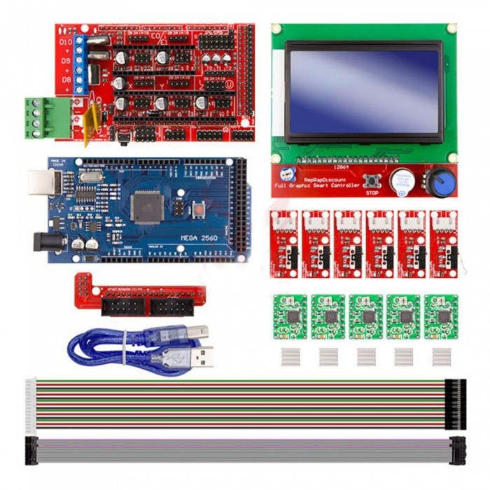 ESAMACT 3D Printer Kit Mega 2560 R3 + RAMPS 1 4 Controller + LCD 12864 + 6  Limit Switch Endstop + 5 A4988 Stepper Driver