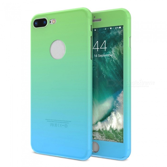new style 2d5d6 196f3 Measy 360 Degree Protective PC Back Cover Case + Glass Screen Protector for  IPHONE 7 Plus - Green + Blue