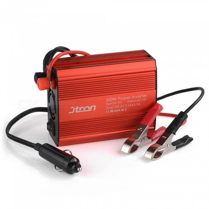 Jtron-300W-Power-Inverter-DC-12V-to-110V-AC-Car-Inverter-with-42A-Dual-USB-Car-Adapter-(Red)