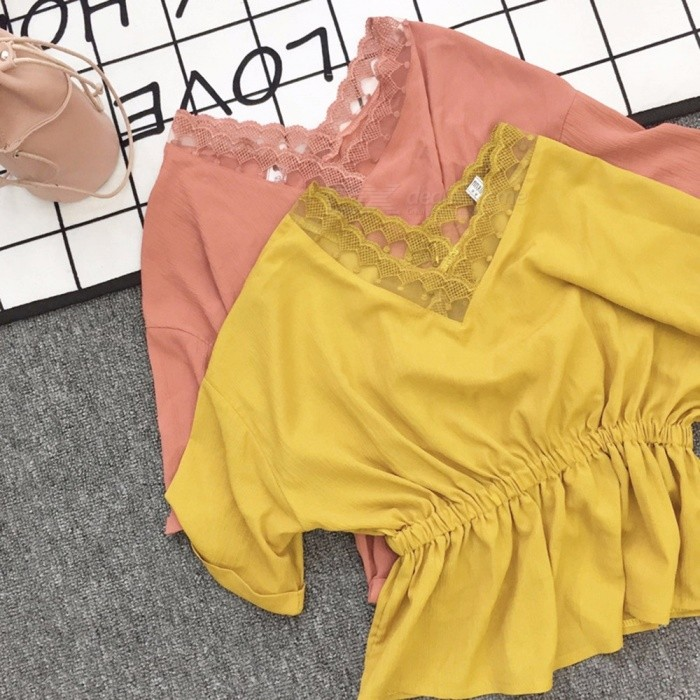 Ladies Chiffon Shirt Bat Sleeves V-Neck Stitching Stylish Women Shirt Summer Top Clothes Clothing Coral Red/XL
