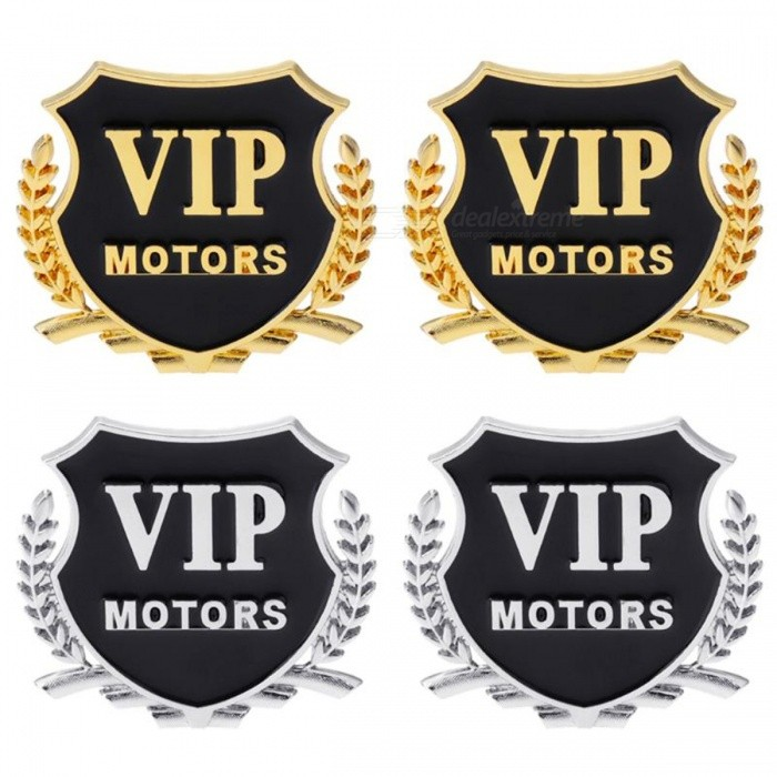 2Pcs Car VIP Pattern Medal Shape 3D Carved Metal Stickers, Car Body External Decals Accessories