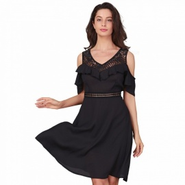 Womens-Summer-Sexy-Off-the-shoulder-V-neck-Dress-Chiffon-Lace-Stitching-Elegant-One-Piece-Dresses