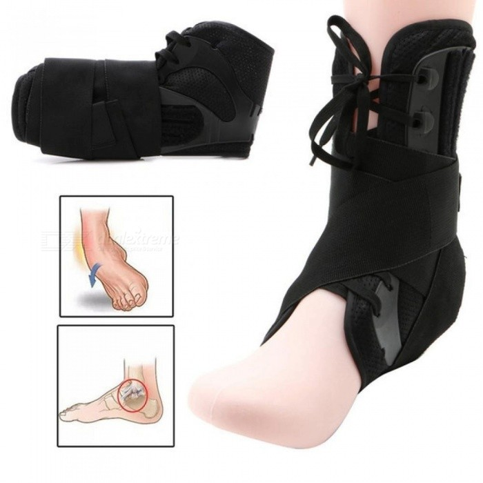 Ankle Brace Support Sports Adjustable Ankle Straps Sports Support Adjustable Foot Orthosis Stabilizer Ankle Protector L/Black