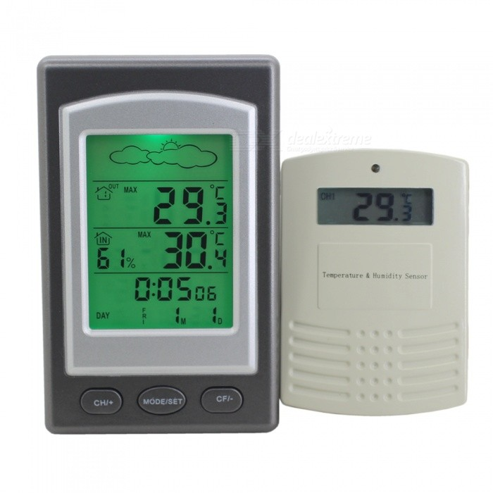 ZW1268 High Precision Digital Thermometer, Wireless Ondoor and Outdoor Temperature Humidity Meter - Grey