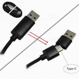 2 in 1 Type-C OTG to Type-C USB Date Cable - Black (100cm)