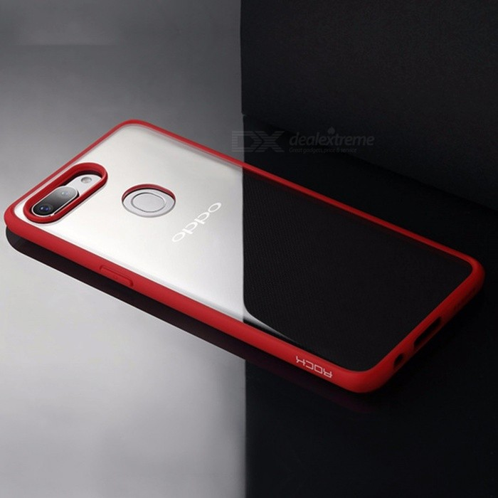 ROCK Ultra Thin Slim Clear PC + TPU Soft Frame Hard Back Cover Case for OPPO R15 Red