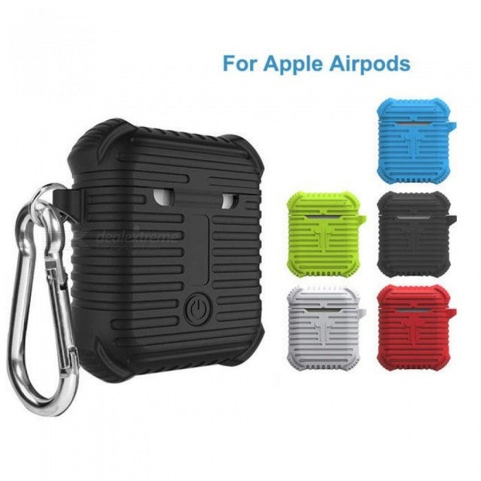 Buy Silicone Case for Airpods Earphone Soft TPU Cover Ultralthin Protector Sleeve With Hook Pouch for Apple Air Pods Earpiece Black with Litecoins with Free Shipping on Gipsybee.com