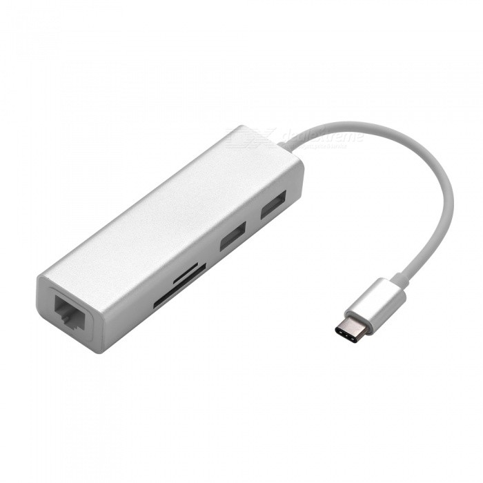 VRrobot-Multi-function-USB-Type-C-to-Ethernet-Port-2b-SD-TF-Card-Slot-2b-USB-30-Adapter-Silver
