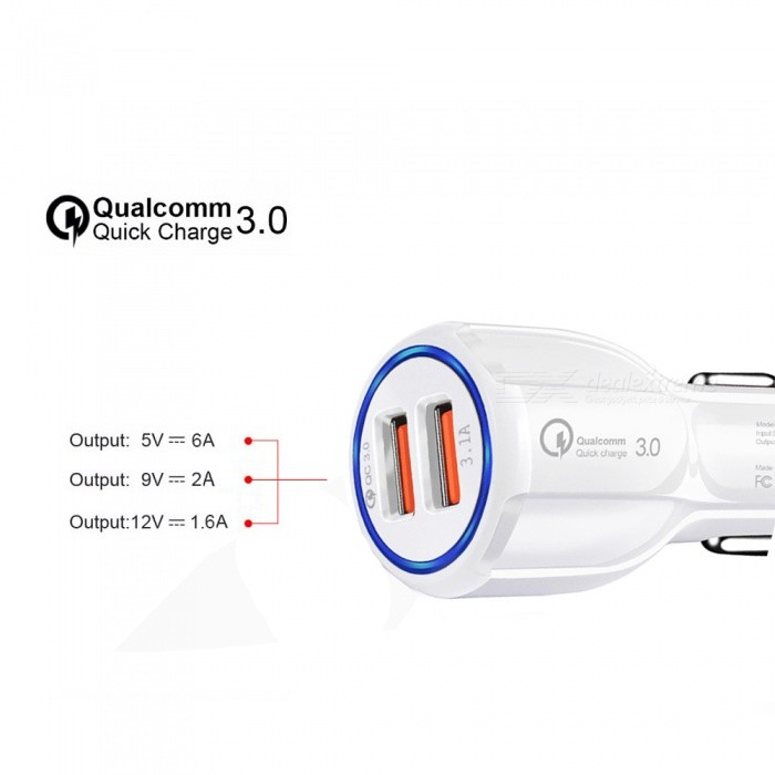 QC3.0 6A Dual USB Car Smart Quick Charger Cell Phone Charger