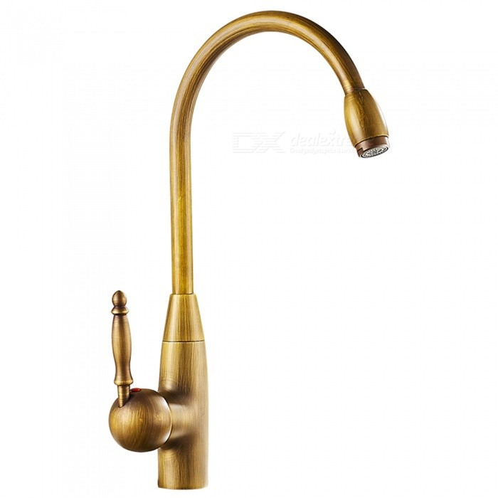 Antique-Brass-360-Degree-Rotatable-Ceramic-Valve-Single-Handle-One-Hole-Kitchen-Faucet