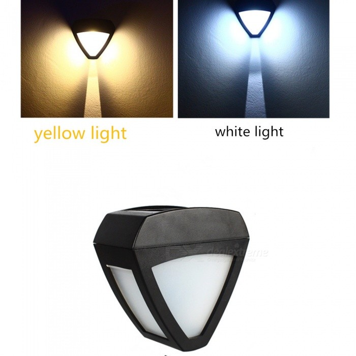Outdoor Solar Powered Triangular LED Wall Lamp - Yellow Light
