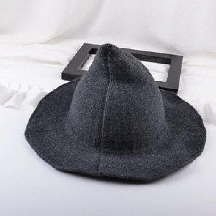 5eee69705c5 Along theSheep Wool Cap Knitting Fisherman Hat Female Fashion Witch Pointed  Basin Bucket Hat Accessories Dark Grey