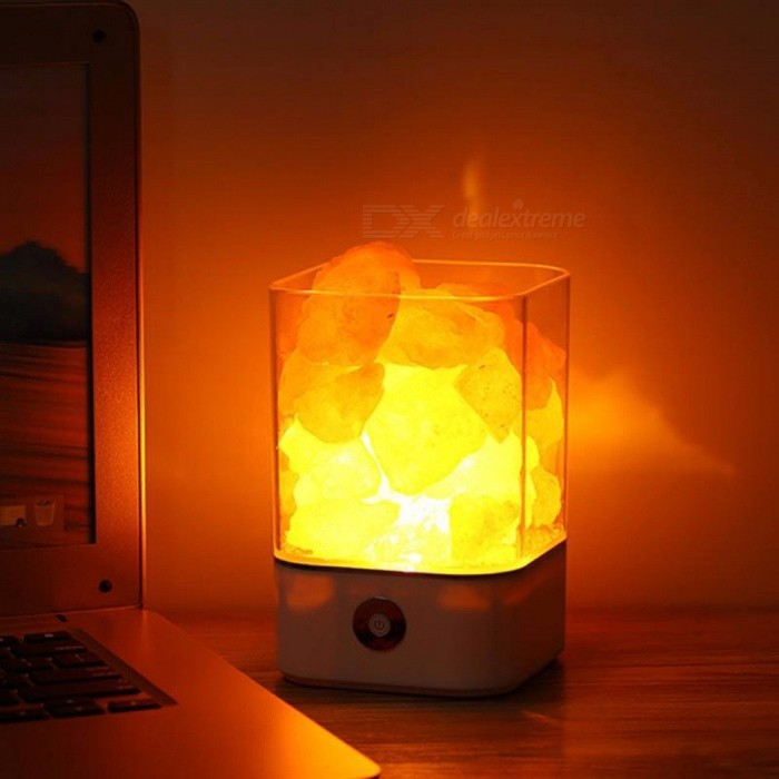 Buy M4 Portable Himalayan Crystal Salt Lamp, Natural Anion Salt Light, Creative Health Gift Bedside Bedroom Light Black/0-5W with Litecoins with Free Shipping on Gipsybee.com