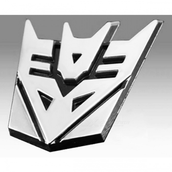 3D Metal Transformers Car Sticker for Car Auto Logo Window Tail, Car Body Decoration Car Styling Decal Silver