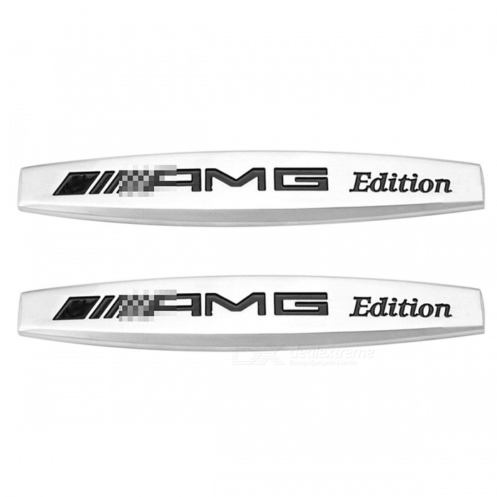 3D Metal AMG Logo Leaves Plate Label Fender Car Badge Sticker Decal Silver