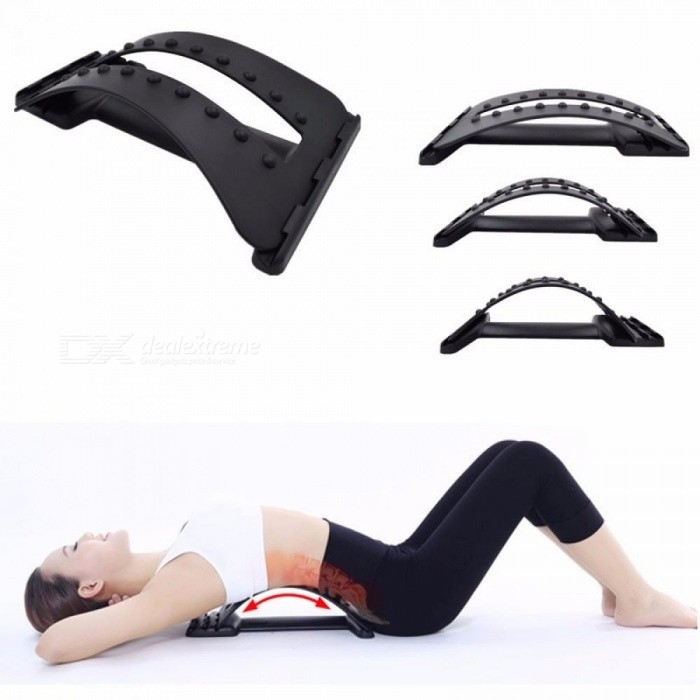 Back-Massage-Stretcher-Stretching-Magic-Lumbar-Support-Waist-Neck-Relax-Mate-Device-Spine-Pain-Relief-Chiropractic-Black