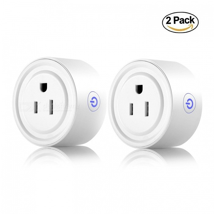 Mini Wi-Fi Smart Plug Echo Plugin Socket Compatible with Alexa Google Home, Remote Control Outlet with Timing Function ( 2 pack)
