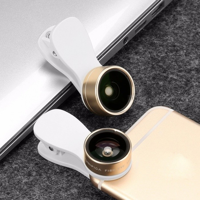 3 In 1 Kit Cell Phone Clip-on High Definition Lens 180 Degree Fisheye + 0.36X Wide Angle + 15X Macro Lens For Smartphone Black