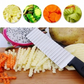 Potato French Fry Cutter Stainless Steel Kitchen Accessories Serrated Blade Easy Slicing Banana Fruits Potato Wave Knife Black