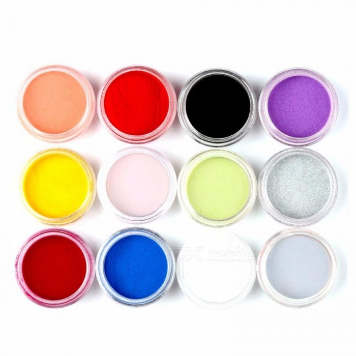 New 12 Colors Fashion Nail Art Decoration Carved Pollen Crystal Powder, Nail Powder For 3D Nail Glitter