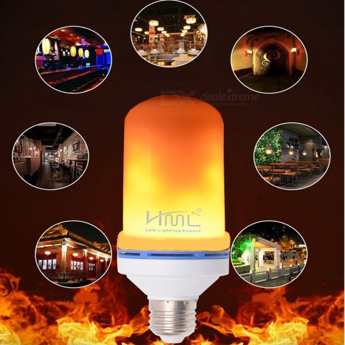 HML E27 90-240V 3w/4w/5w/6W LED 3D Flame Light Bulb, Emulation Flaming 2-Mode Decorative Lamp