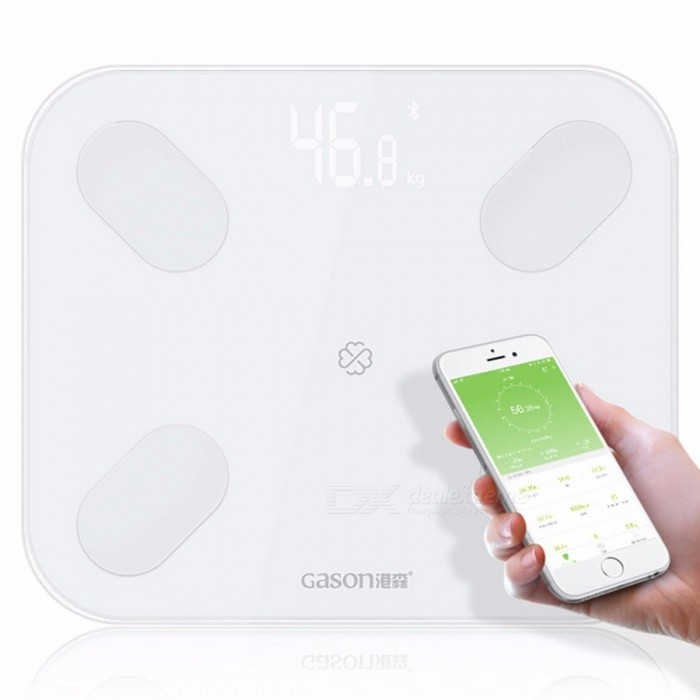 LED Body Bathroom Scales Floor Scientific Smart Electronic Digital Fat Weight Household Balance Bluetooth APP Android White
