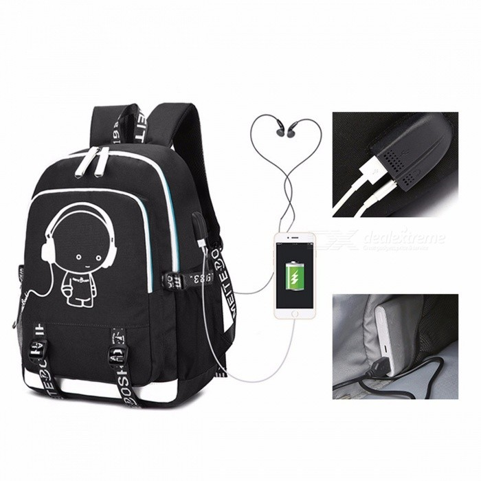Buy 2018 New School Bag Cool Luminous Backpack  Fashion Multi-functional Charging Travel Bag Sky Blue/17 Inches with Litecoins with Free Shipping on Gipsybee.com