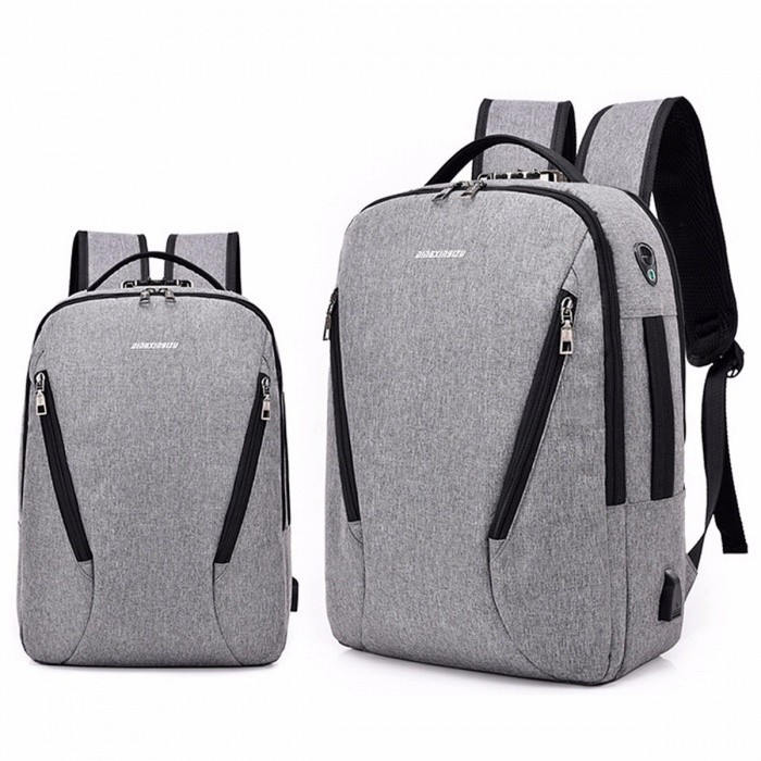 New Men\'s Backpack Business Shoulder Multifunction Bag Light Grey/17 Inches for sale in Bitcoin, Litecoin, Ethereum, Bitcoin Cash with the best price and Free Shipping on Gipsybee.com