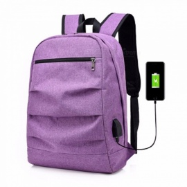 2018 New Casual Double Socket Charging Headset Multi-functional Men\'s Backpack Deep Blue/19 inches