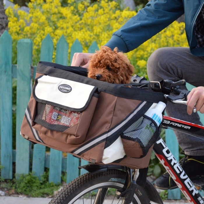 Techome Hot Sale PET Bicycles Carrier Portable Bicycles Basket Dog Puppy Dog cat For Small Dog Burgundy