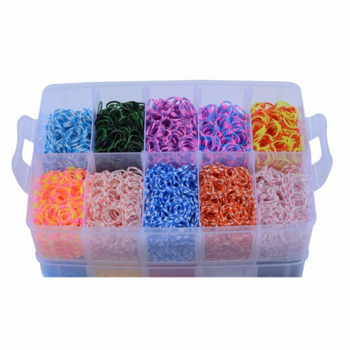Buy 10000pcs DIY Rainbow Loom Bands Rubber Bracelet Gift Box Large Three Layer Knitting Machines For Children Education Toy Multicolor with Litecoins with Free Shipping on Gipsybee.com