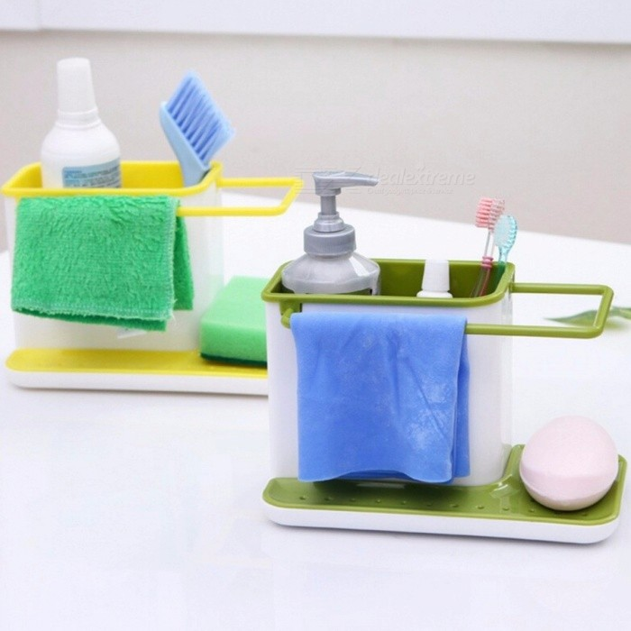 Kitchen Organizer Storage Rack, Sink Dish Cloth Drain Holder, Dry Dishwashing Sponge Holder Sky Blue