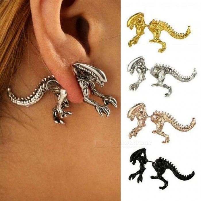 Punk Alien Shape Stud Earring for Women Silver Black Alloy Stud Earrings Push-back Animal Earring     antique red for sale in Bitcoin, Litecoin, Ethereum, Bitcoin Cash with the best price and Free Shipping on Gipsybee.com