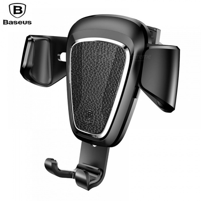 BASEUS Universal Car Air Vent Mounted Gravity Phone Holder Stand, Metal Clamp Car Bracket Black