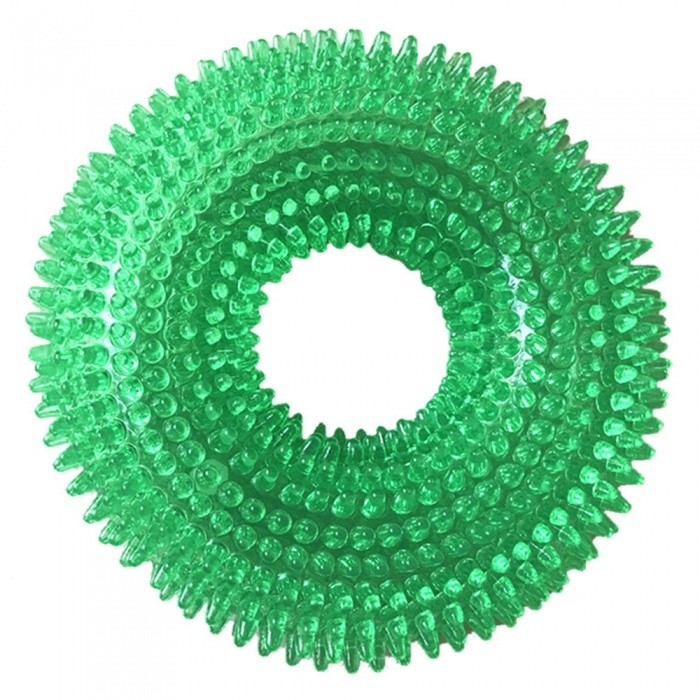 Buy Maikou Clean Tooth Chew Thorn Ring Bite Resistant Squeaky Interactive Dog Toy - Green with Litecoins with Free Shipping on Gipsybee.com