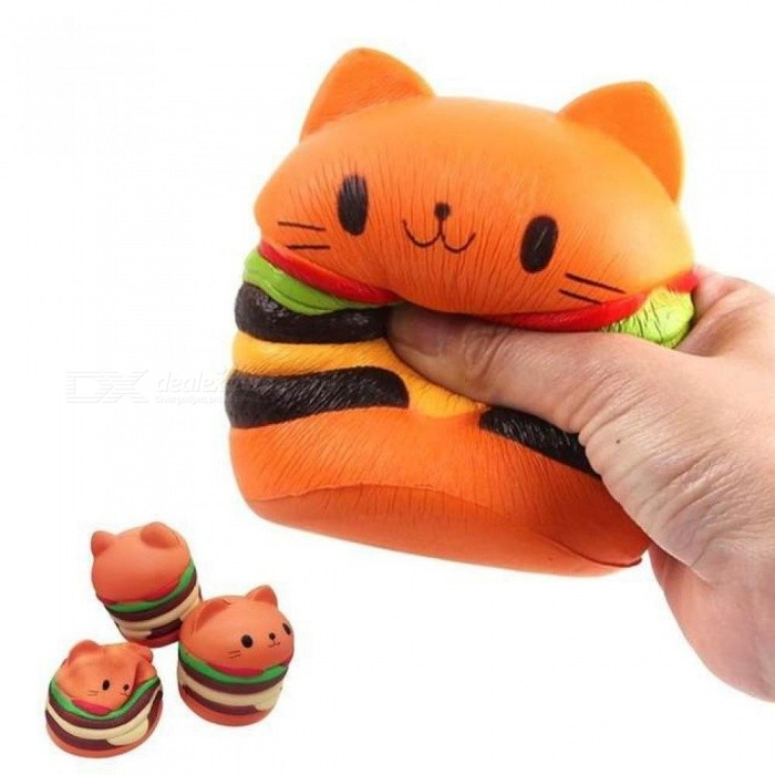 10cm Squishy Hamburger Cat Cake Squeeze Toy Slow Rising Stretchy Phone Squishy Bread Kids Toy Home Decoration  Cat Cake Squeeze Toy