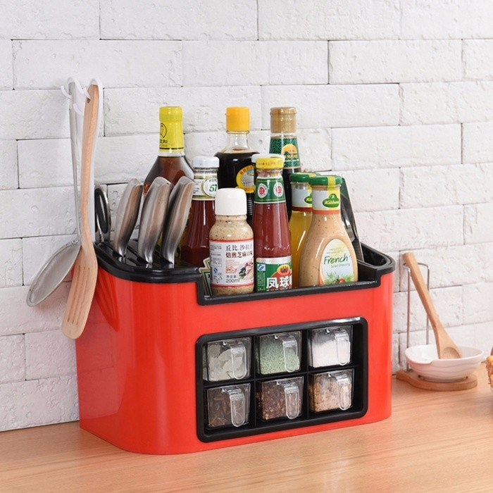 PP Kitchen Seasoning Cans Knife Chopstick Shelf Kitchen Spice Rack Condiment Bottles Pepper Shakers Box Storage Hook Army Green