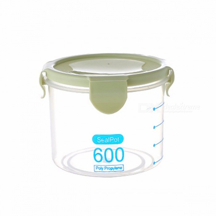 600/800/1000ML Transparent Plastic Sealed Cans Refrigerator Kitchen Grain Food Storage Box Plastic Containers With Lid Army Green/M