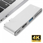 Measy USB Type-C Hub with HDMI Output, Pass-through Charge Port, 4K HDMI, SD Micro SD Card Reader for New MacBook Pro - Silver