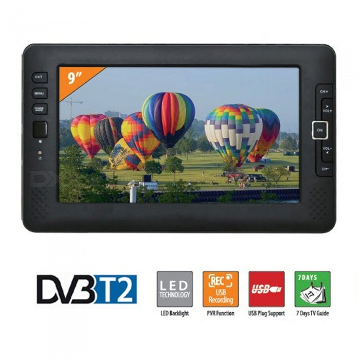 XSUNI 9 Inch Portable Car TV Home Digital DVB-T2 Television HD Channel Receiver - Black (EU Plug) for sale in Bitcoin, Litecoin, Ethereum, Bitcoin Cash with the best price and Free Shipping on Gipsybee.com