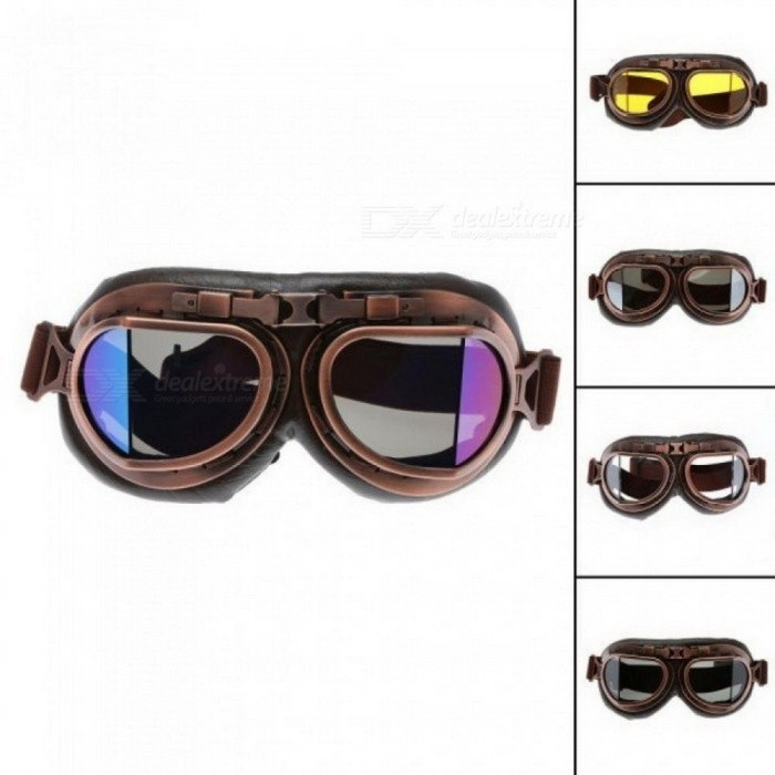 Motorcycle Goggles Glasses Retro Aviator Pilot Cruiser Steampunk ATV Bike UV Protection Copper Brown Lens