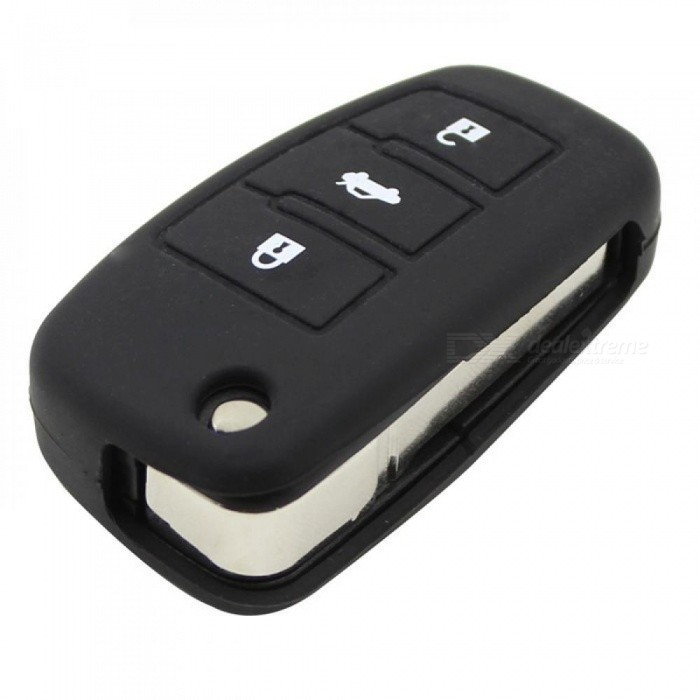 3 Button Silicon Key Folding Cover Fob Shell Holder for Smart Audi A3 A4 A6 A8 TT Protector Car Key Bag Case black